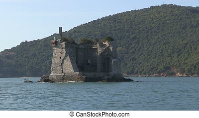 Ruins of a castle on small island