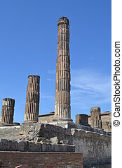 Ruins of a Column in Pompeii Italy