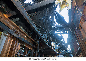 Ruins of a destroyed residence after a house fire