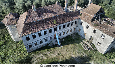Ruins of a forgotten medieval residence, top view in StBenedek, Transylvania, Romania