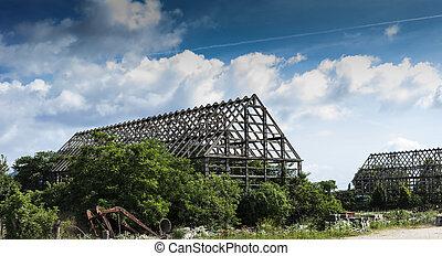 Ruins of a forgotten warehouse in Gyulakeszi, Hungary