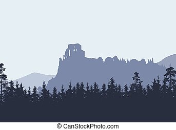 Ruins of a medieval castle on a high rock, between hills and forests - vector, Strecno