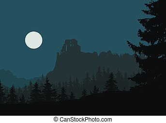 Ruins of a medieval castle on a rock between forests and mountains, under night sky with moon