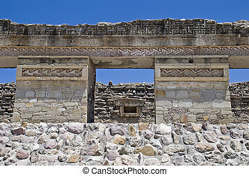 Ruins of a pre-columbian palace in Mitla, Mexico - Ruins of...
