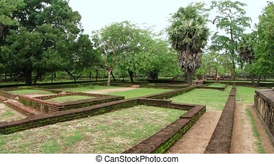 Ruins of a Royal Palace Compound in Polonnaruwa. FullHD 1080p video