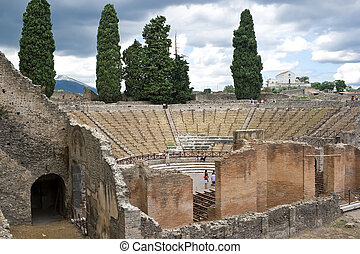 Ruins of a small amphitheater in Pompeii, Italy