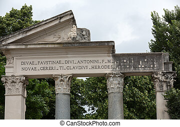 Ruins of a temple in Villa Borghese public park in Rome. Italy