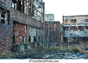 factory - Ruins of a very heavily polluted industrial...