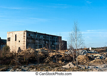 factory - Ruins of a very heavily polluted industrial ...