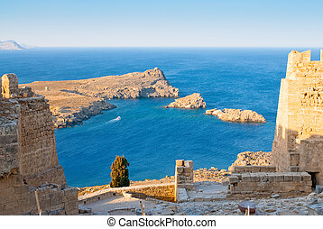 Ruins of Acropolis in the Rhodes Island