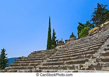 Ruins of amphitheater in Delphi, Greece