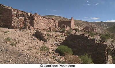 Ruins of an abandoned settlement - A low angle shot of the...