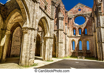 Ruins of an old church in Tuscany