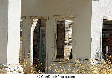 Ruins of an old gas station