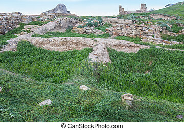 Ruins of an old ruined stone fortress