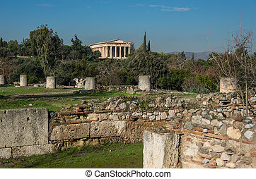 Ruins of Ancient Agora with Temple of Hephaestus at background. Athens, Greece