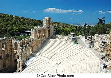 Ruins of ancient amphitheater at Acropolis hill, Athens, Greece