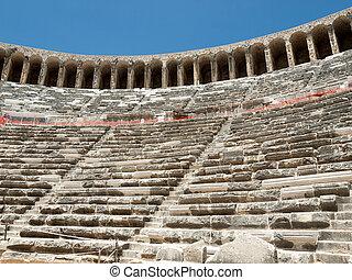 ruins of ancient amphitheater in Aspendos, Antalya, Turkey
