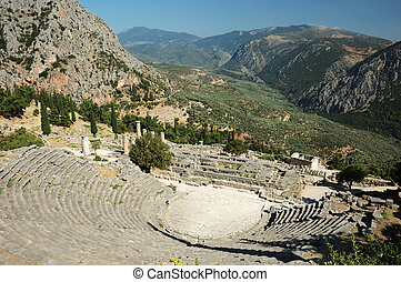 Ruins of ancient amphitheater in Delphi, Greece
