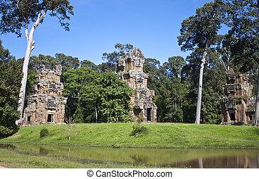 Ruins of ancient Angkor temples, Cambodia.