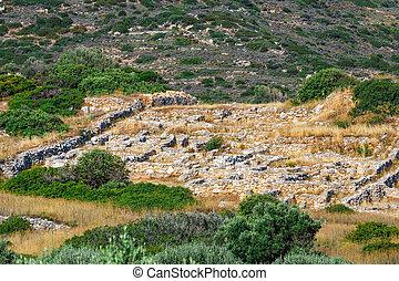 ruins of Ancient Aptera on Crete island. Greece