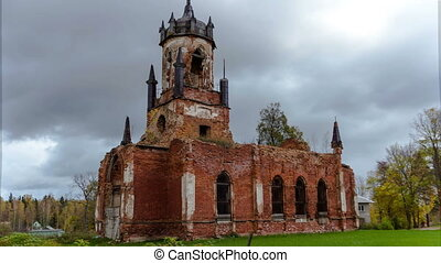 Ruins of ancient Church. time-lapse