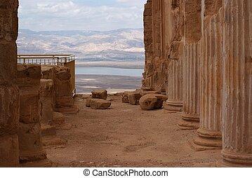 Ruins of ancient colonnade of King Herod's palace in Masada