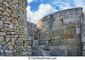 Ruins of ancient fortress wall in the museum of Chersonesos ...