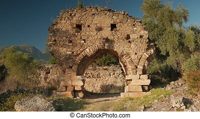 Ruins of ancient gate from red bricks, Nysa, Sultanhisar, Turkey. 4k.