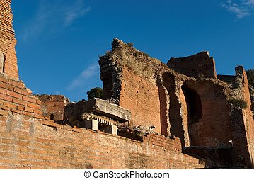 Ruins of ancient Greek and Roman theater in Taormina, Sicily, Italy