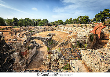 Ruins of Ancient Greek Theatre in Syracuse