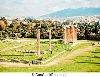 ruins of ancient temple Zeus, Athens, Greece