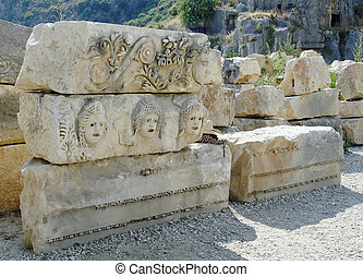 Ruins of ancient theater in Myra, Turkey