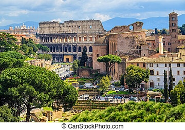Forum Romanum and Colosseum in the Old Town of Rome, Italy -...