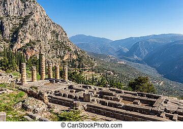 ruins of Apollo temple in Ancient Delphi