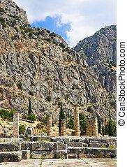 Ruins of Apollo temple in Delphi, Greece