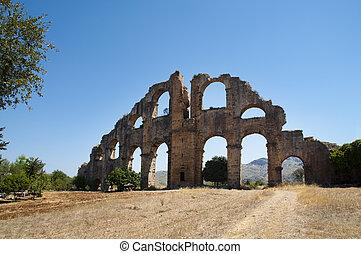 Ruins of aqueduct in Aspendos