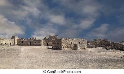Ruins of Azraq Castle, central-eastern Jordan, 100 km east...