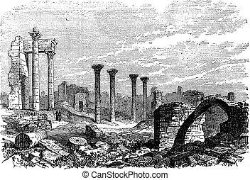 Ruins of Bozrah,  Captial city of Edorn, Jordan, now Bouseira vintage engraving.