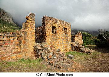 Ruins of building in mist