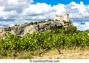 ruins of castle in Vaison-la-Romaine with vineyard, Provence, Fr