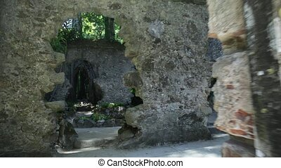 Ruins of chapel Sintra - POV walking inside the ruins of...