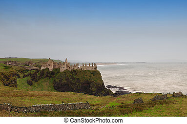 Ruins of Dunluce castle in Northern Ireland