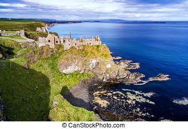 Ruins of Dunluce Castle in Northern Ireland, UK