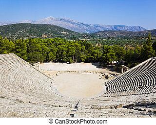 Ruins of Epidaurus amphitheater, Greece - archaeology...