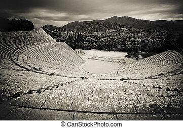 ruins of epidaurus theater, peloponnese, greece