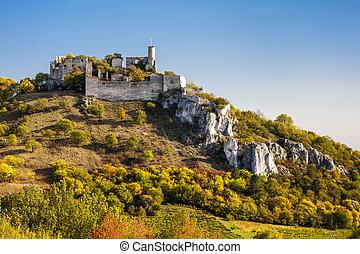 ruins of Falkenstein Castle in autumn, Lower Austria, Austria