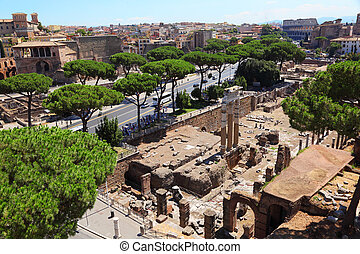 Ruins of Foro di Cesare in Rome, Italy to this day they do great impression