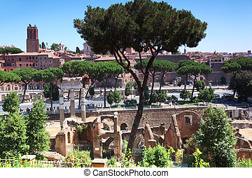 Ruins of Foro di Traiano and Foro di Cesare in Rome, Italy to this day they do great impression