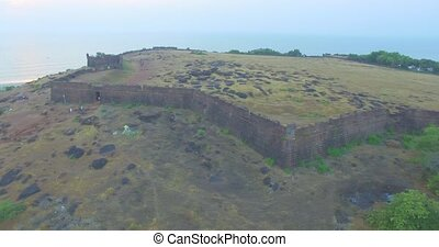 Ruins of fort Chapora. Goa state, India. Aerial